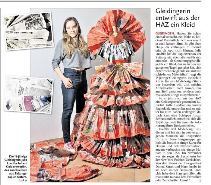 HAZ_Leine_Nachrichten_Gleidingerin_entwirft_aus_der_HAZ_ein_Kleid_Titelseite_6.2.2015.Ausschnitt_k